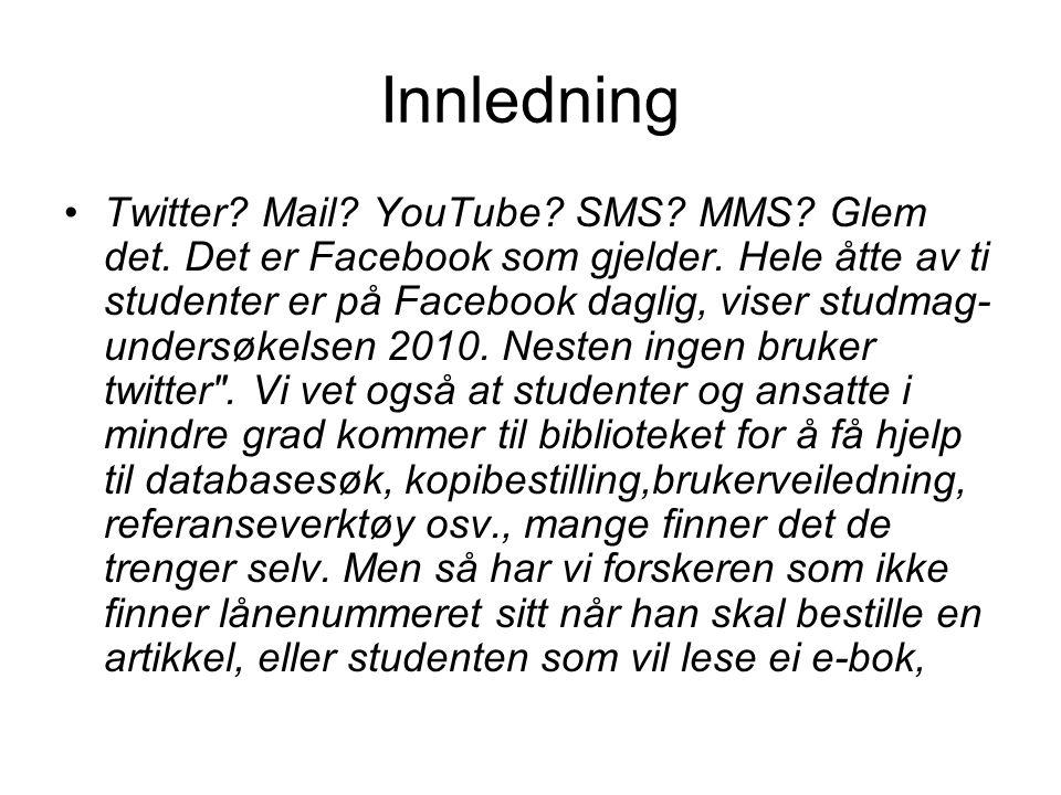 Innledning Twitter.Mail. YouTube. SMS. MMS. Glem det.