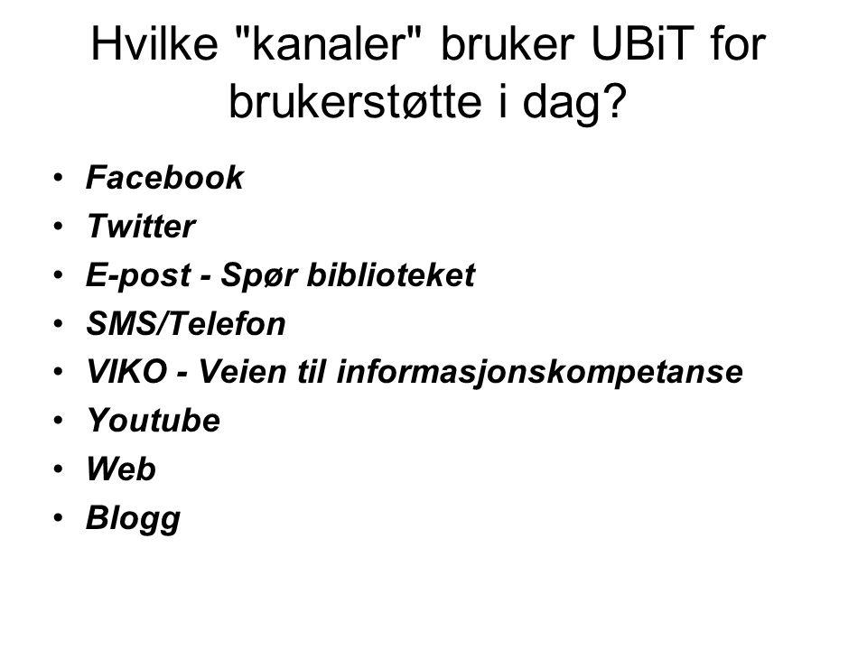 Hvilke kanaler bruker UBiT for brukerstøtte i dag.