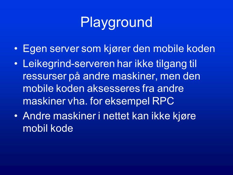 Playground Egen server som kjører den mobile koden Leikegrind-serveren har ikke tilgang til ressurser på andre maskiner, men den mobile koden aksesseres fra andre maskiner vha.