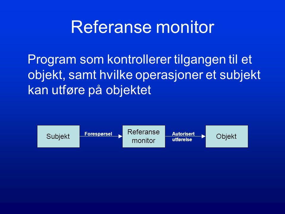Referanse monitor Program som kontrollerer tilgangen til et objekt, samt hvilke operasjoner et subjekt kan utføre på objektet Subjekt Referanse monitor Objekt ForespørselAutorisert utførelse
