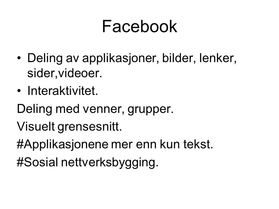 Facebook Deling av applikasjoner, bilder, lenker, sider,videoer. Interaktivitet. Deling med venner, grupper. Visuelt grensesnitt. #Applikasjonene mer