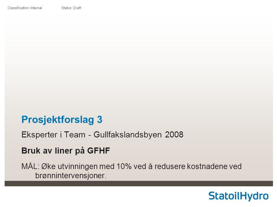Classification: Internal Status: Draft Prosjektforslag 3 Eksperter i Team - Gullfakslandsbyen 2008 Bruk av liner på GFHF MÅL: Øke utvinningen med 10% ved å redusere kostnadene ved brønnintervensjoner.
