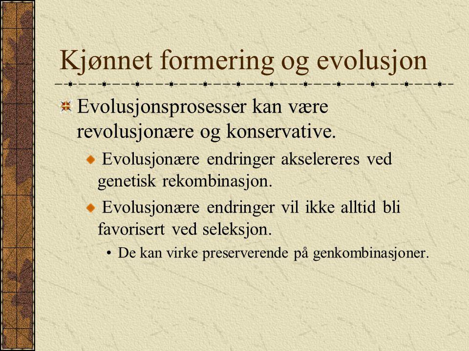 Kjønnet formering og evolusjon Evolusjonsprosesser kan være revolusjonære og konservative. Evolusjonære endringer akselereres ved genetisk rekombinasj