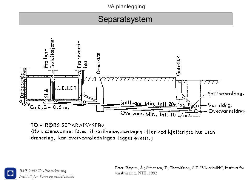 VA planlegging BM5 2002 VA-Prosjektering Institutt for Vann og miljøteknikk Separatsystem Etter: Bøyum, Å.; Simensen, T.; Thorolfsson, S.T.