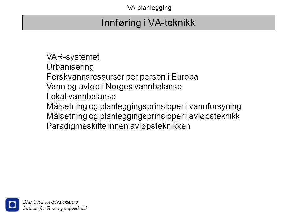 VA planlegging BM5 2002 VA-Prosjektering Institutt for Vann og miljøteknikk VAR-systemet Urbanisering Ferskvannsressurser per person i Europa Vann og