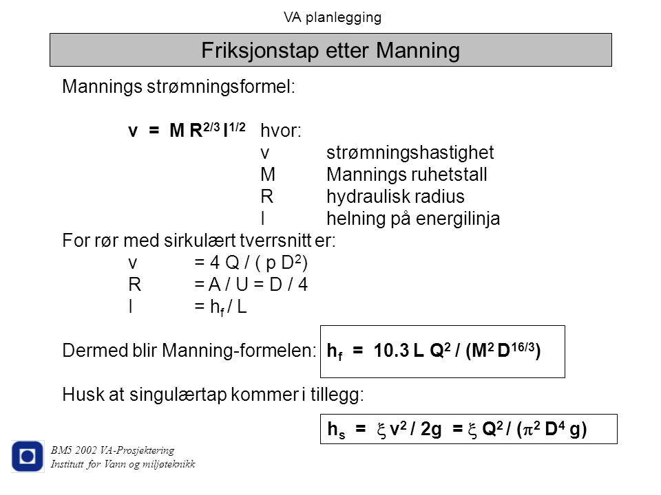 VA planlegging BM5 2002 VA-Prosjektering Institutt for Vann og miljøteknikk Friksjonstap etter Manning Mannings strømningsformel: v = M R 2/3 I 1/2 hv