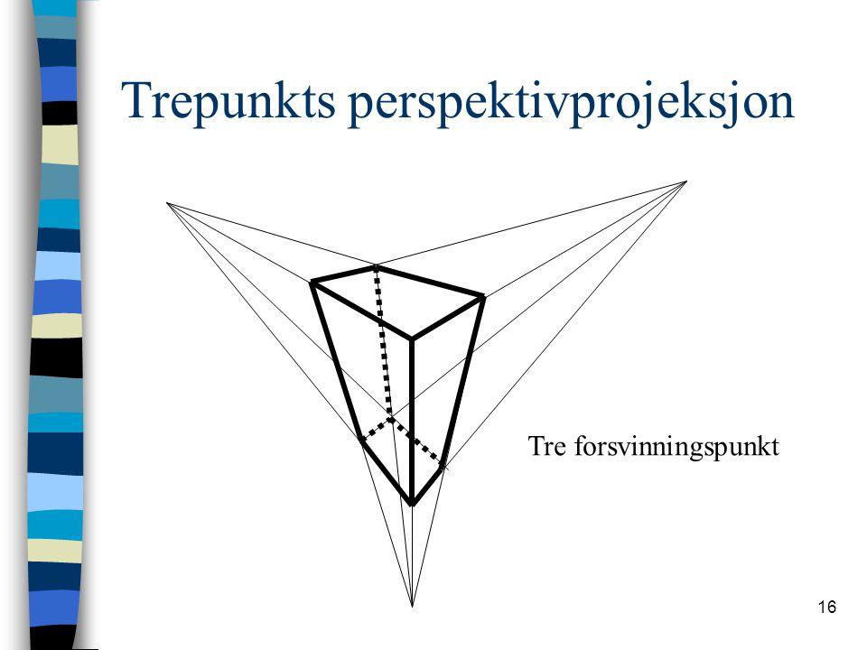 16 Trepunkts perspektivprojeksjon Tre forsvinningspunkt