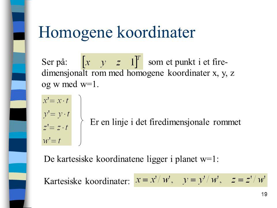 19 Homogene koordinater Ser på: som et punkt i et fire- dimensjonalt rom med homogene koordinater x, y, z og w med w=1.
