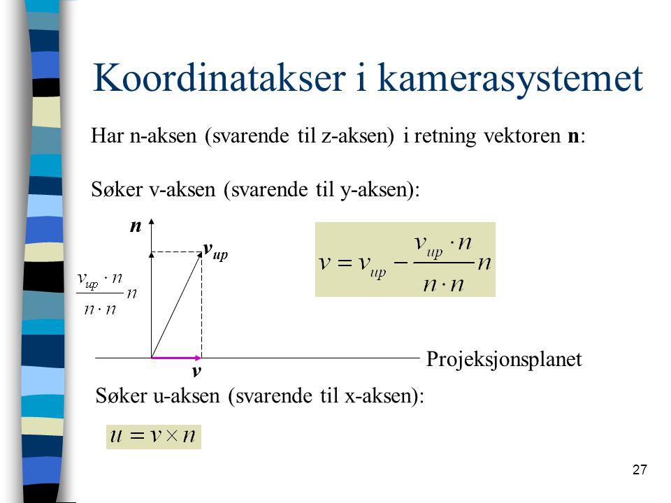 27 Koordinatakser i kamerasystemet Har n-aksen (svarende til z-aksen) i retning vektoren n: Søker v-aksen (svarende til y-aksen): n v up v Projeksjonsplanet Søker u-aksen (svarende til x-aksen):