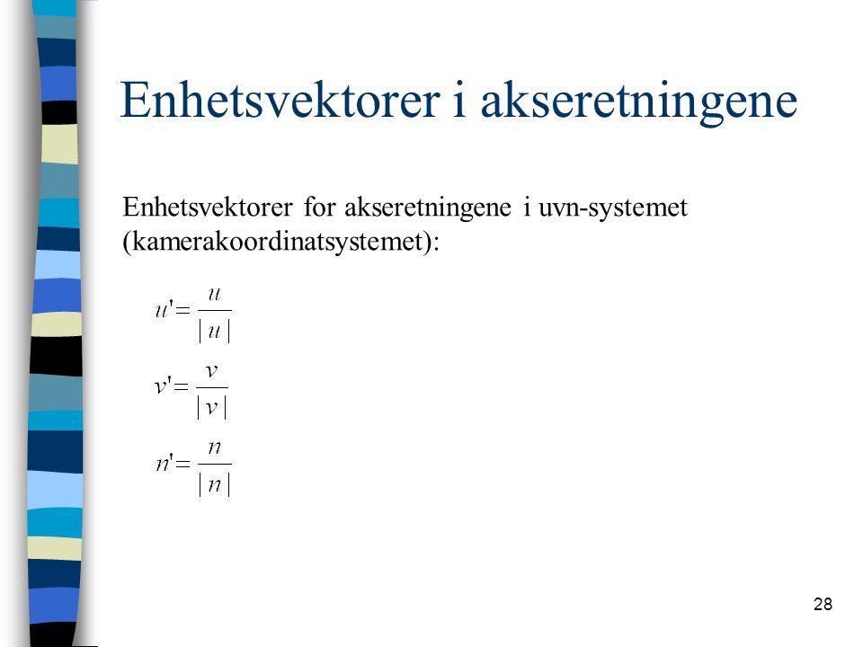 28 Enhetsvektorer i akseretningene Enhetsvektorer for akseretningene i uvn-systemet (kamerakoordinatsystemet):
