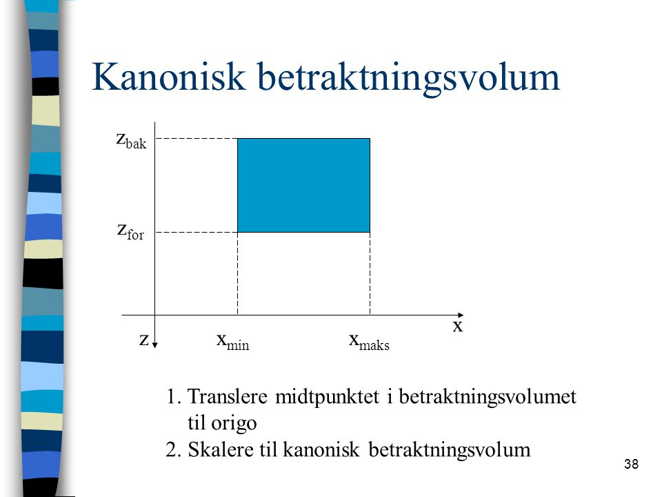 38 Kanonisk betraktningsvolum z x z bak z for x maks x min 1.