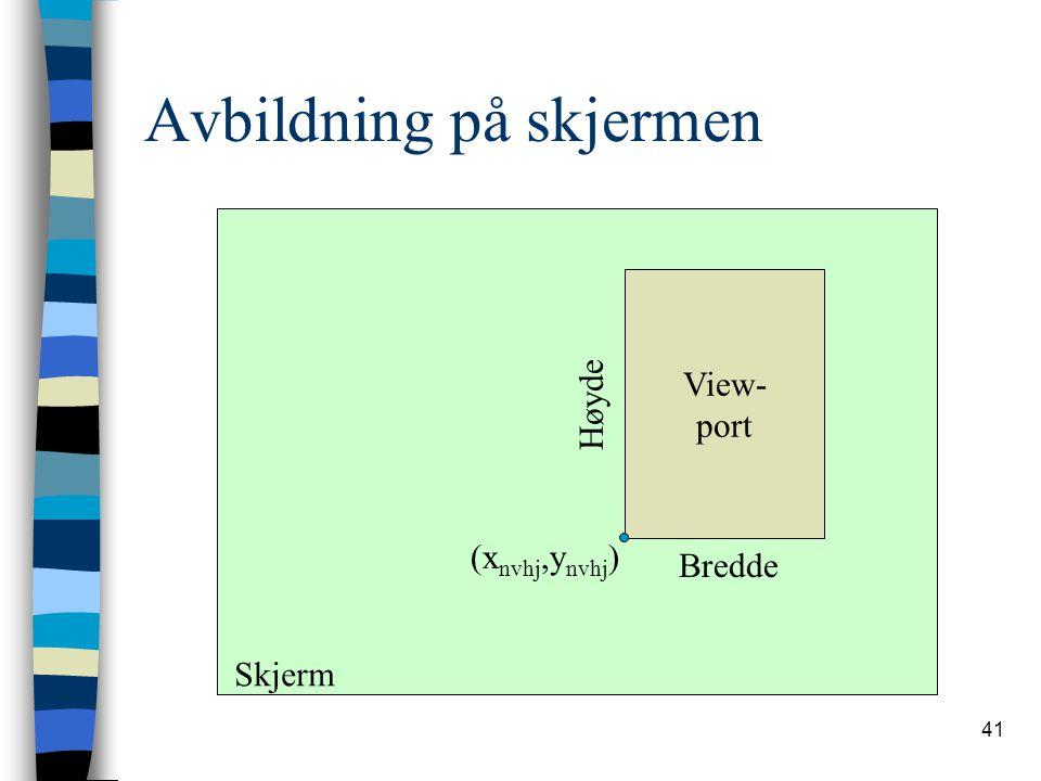 41 Avbildning på skjermen View- port Skjerm Bredde Høyde (x nvhj,y nvhj )