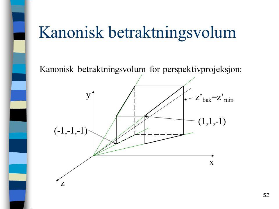 52 Kanonisk betraktningsvolum Kanonisk betraktningsvolum for perspektivprojeksjon: x y z (1,1,-1) (-1,-1,-1) z' bak =z' min