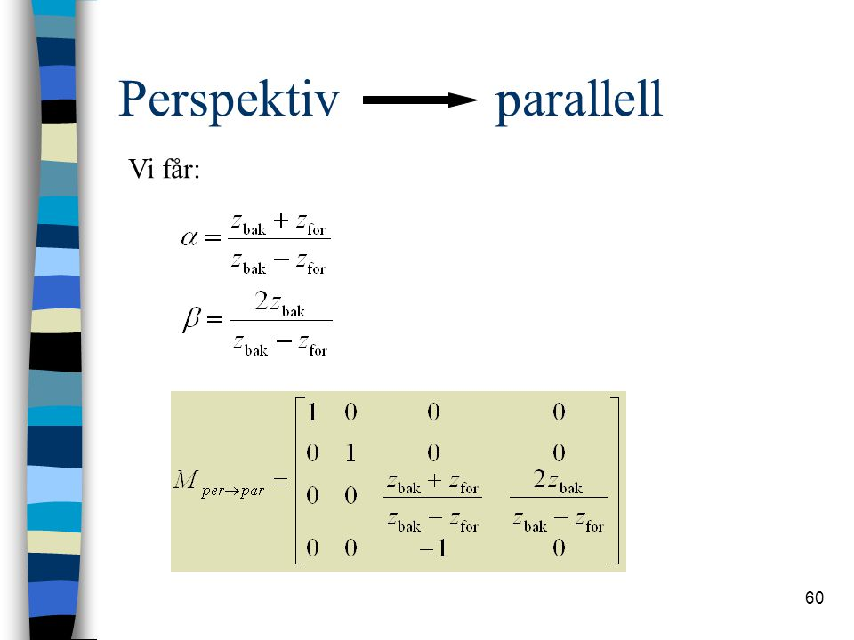 60 Perspektiv parallell Vi får: