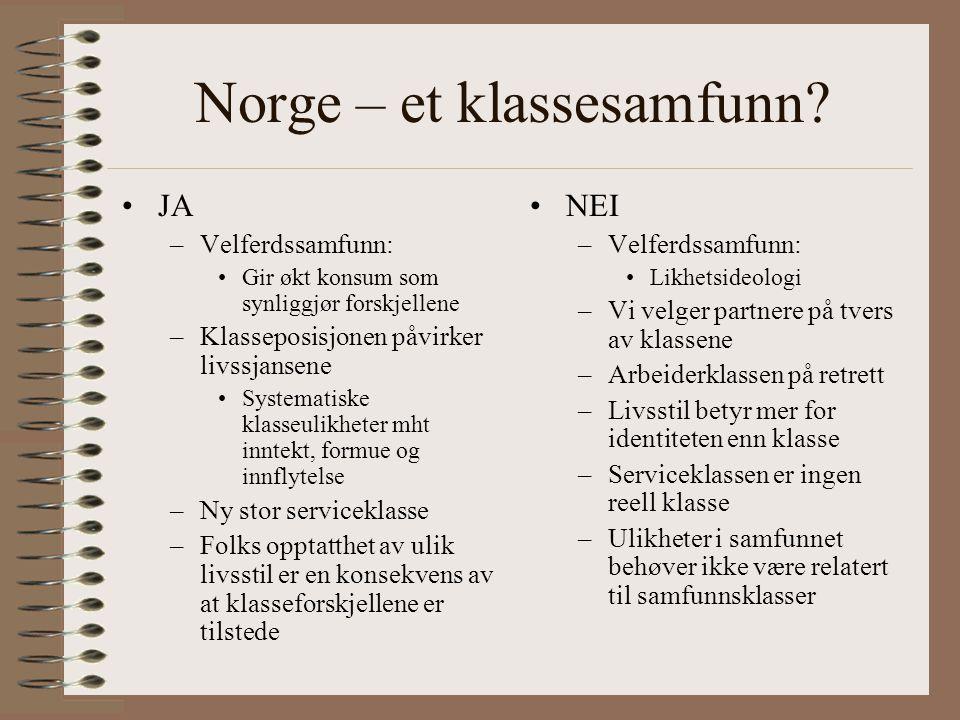 Norge – et klassesamfunn.