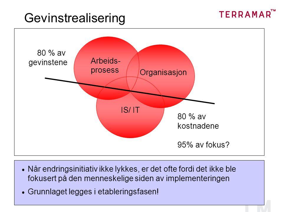Gevinstrealisering Arbeids- prosess IS/ IT Organisasjon 80 % av kostnadene 95% av fokus.