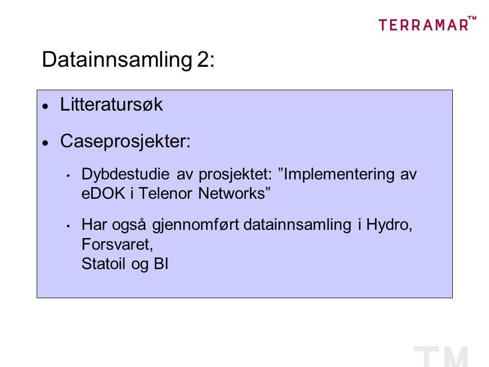 Datainnsamling 2:  Litteratursøk  Caseprosjekter: Dybdestudie av prosjektet: Implementering av eDOK i Telenor Networks Har også gjennomført datainnsamling i Hydro, Forsvaret, Statoil og BI