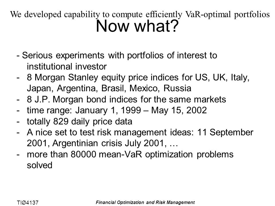 TIØ4137 Financial Optimization and Risk Management Now what.