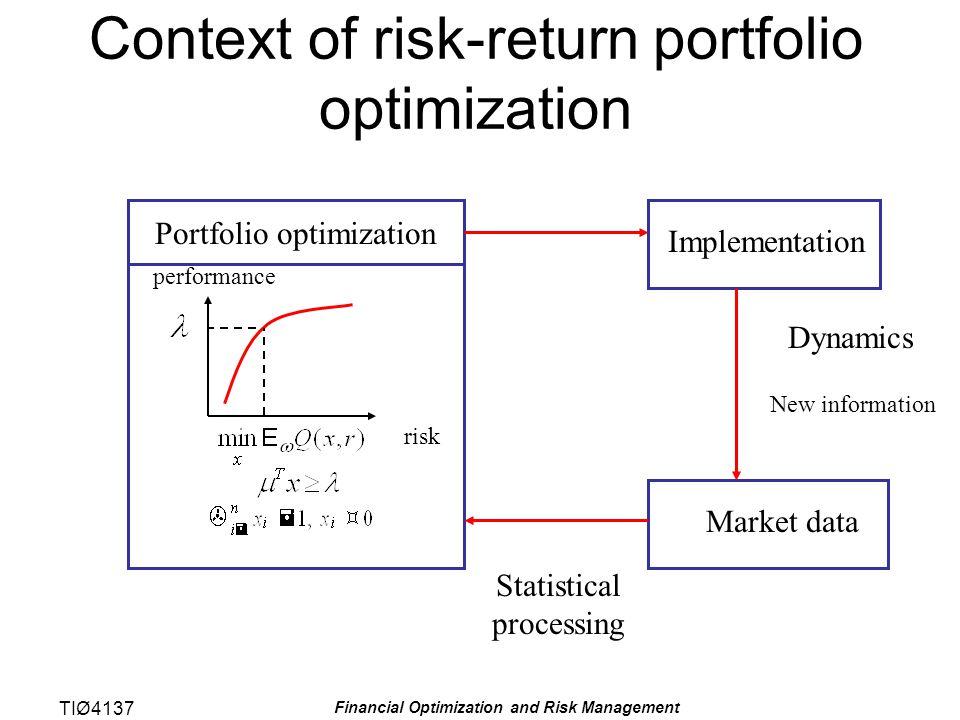 TIØ4137 Financial Optimization and Risk Management Hovedpunkter Studere (performance) for porteføljer med hensyn på utbytte (forventet profitt) og risiko (varians) Formulere klassisk kvadratisk programmeringsmodell