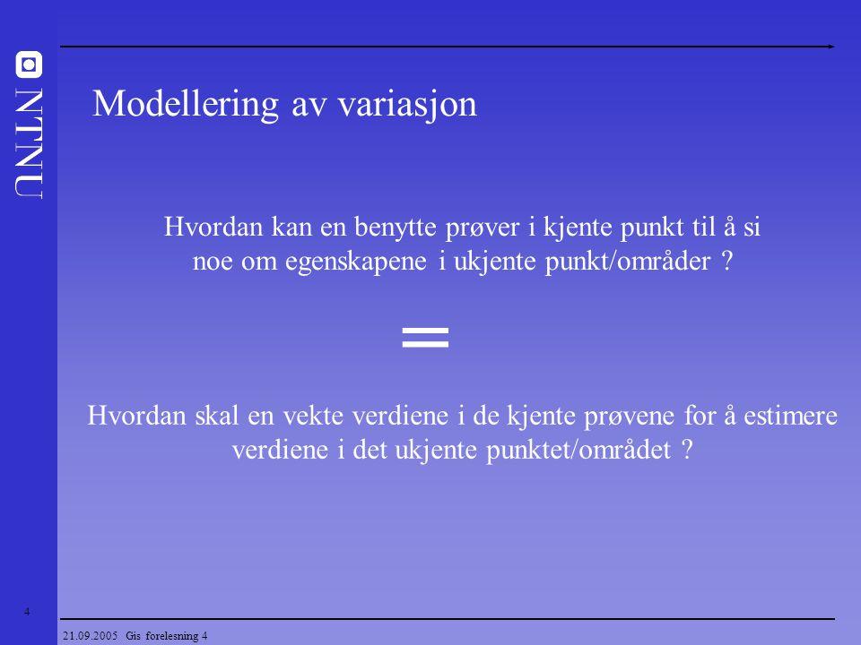 25 21.09.2005 Gis forelesning 4 Dyp Vertikal variasjon i nikkelgehalt Regionalisert variabel En regionalisert variabel har ofte et strukturert og et tilfeldig aspekt