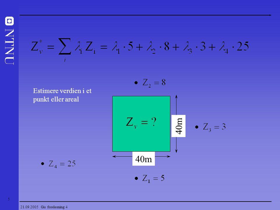 16 21.09.2005 Gis forelesning 4 Geostatistikk Strukturell analyse (modellering) - Studie av fenomeners romlige variasjon - Sammenheng mellom parametere - Optimal prøvetakingsmetodikk