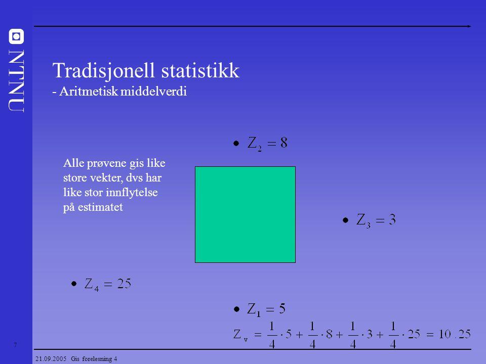 18 21.09.2005 Gis forelesning 4 Geostatistikk Estimering (Eksempler på hva som kan estimeres) - Gehalter (metaller, diamanter, industrimineraler) - Kvalitetsparametere (Hvithet, glødetap, Fe og Mn innhold) - Topografiske variable (tykkelse på kullfløts, mektighet på forekomst eller overdekke) - Bergartstyper Sand/leir forhold i et oljereservoar - Porøsitet og permeabilitet/gjennomstrømning i olje eller vannreservoar - Geokjemiske sporelementer i jord og bekkesedimenter - Konsentrasjon av forurensninger i jord, vann og atmosfære