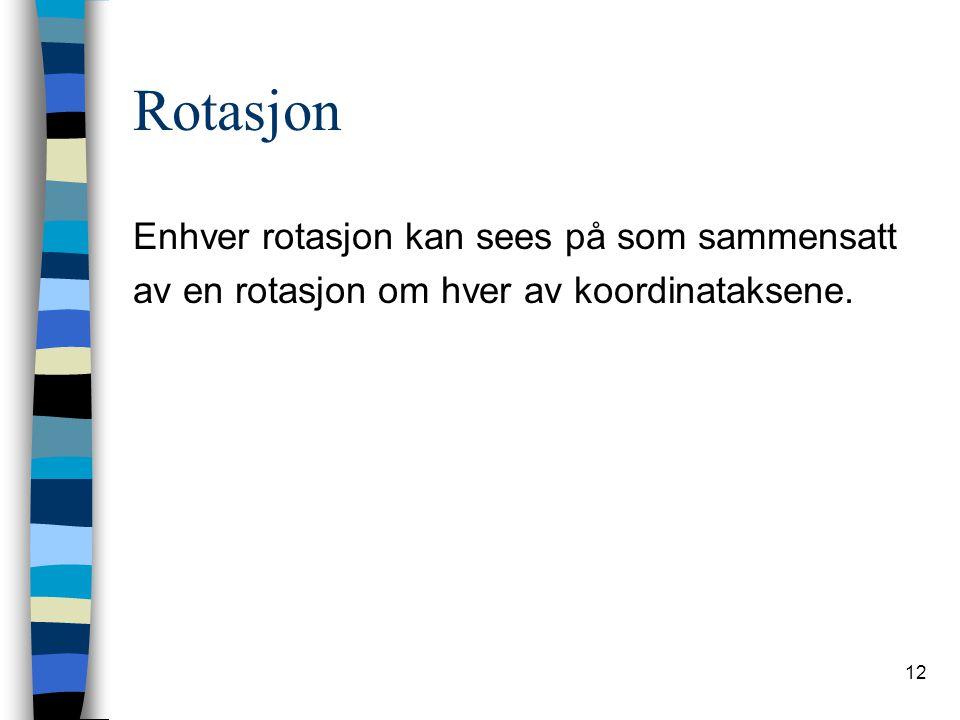 12 Rotasjon Enhver rotasjon kan sees på som sammensatt av en rotasjon om hver av koordinataksene.