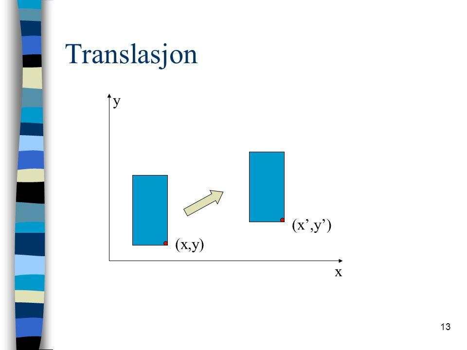 13 Translasjon x y (x,y) (x',y')