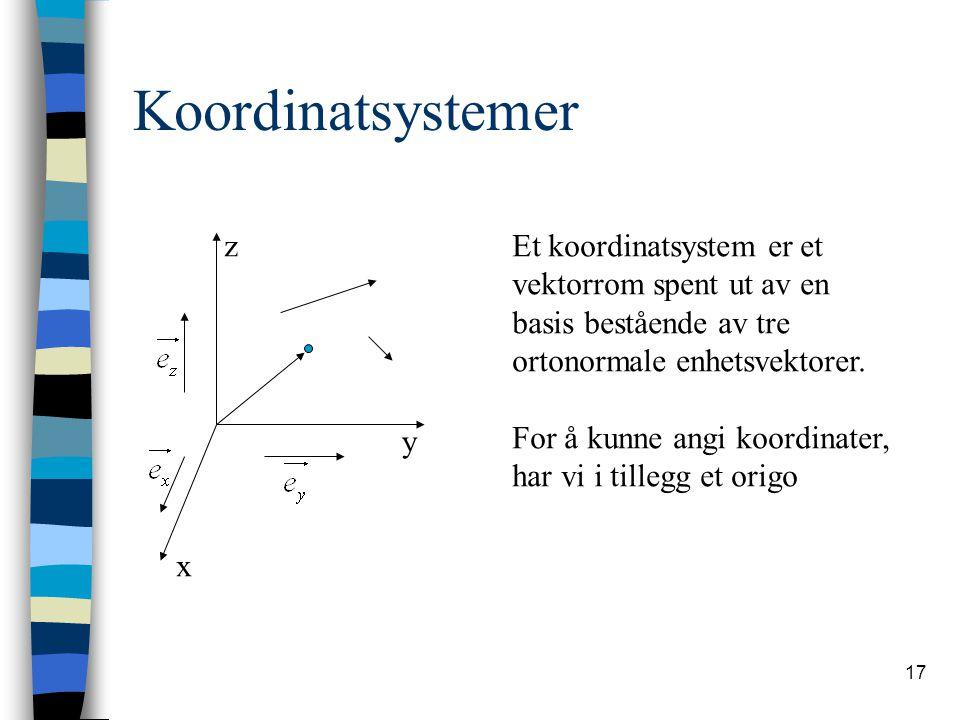 17 Koordinatsystemer x y zEt koordinatsystem er et vektorrom spent ut av en basis bestående av tre ortonormale enhetsvektorer. For å kunne angi koordi