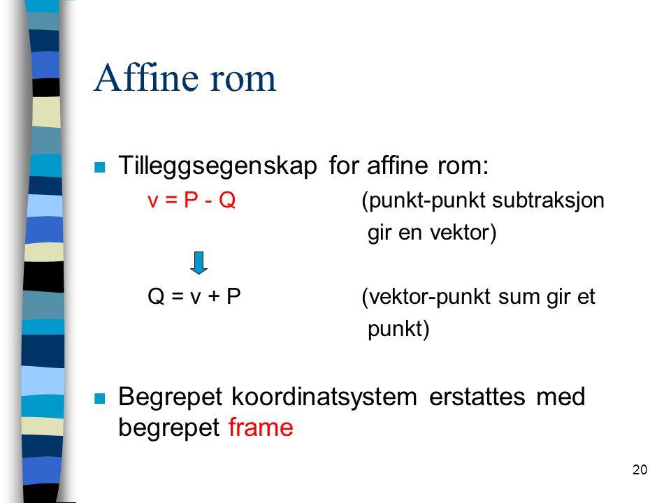 20 Affine rom n Tilleggsegenskap for affine rom: v = P - Q(punkt-punkt subtraksjon gir en vektor) Q = v + P(vektor-punkt sum gir et punkt) n Begrepet