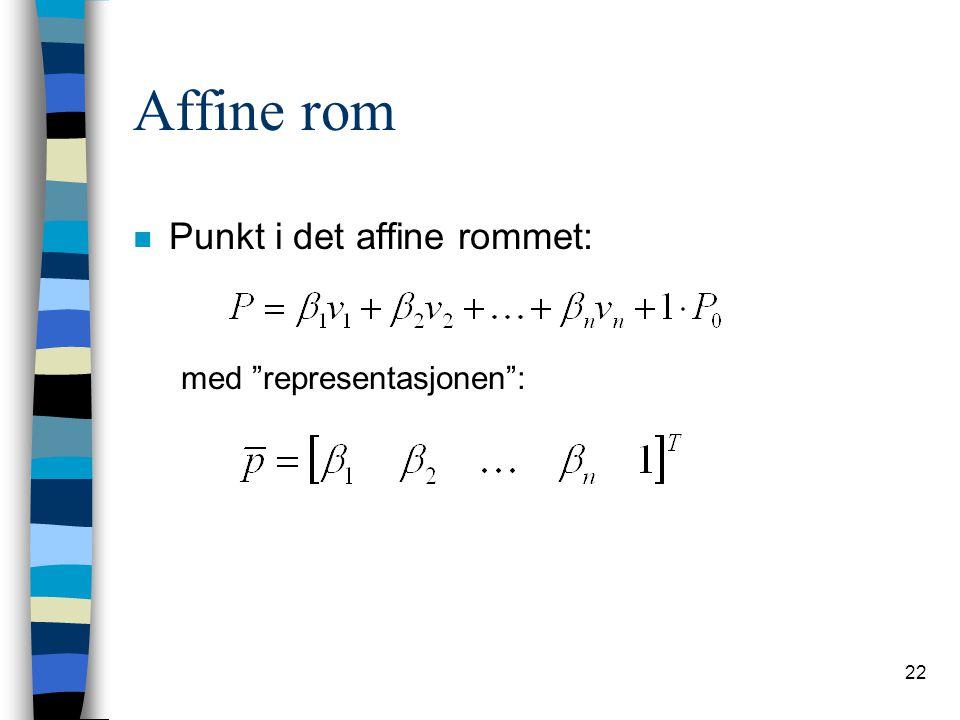"""22 Affine rom n Punkt i det affine rommet: med """"representasjonen"""":"""