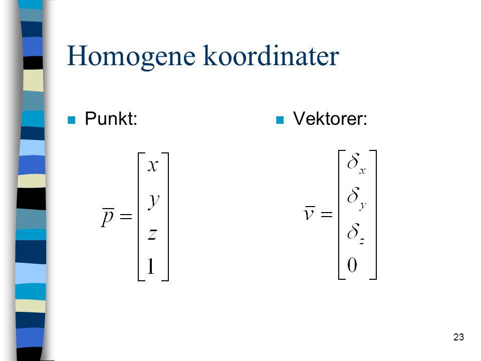 23 Homogene koordinater n Punkt: n Vektorer:
