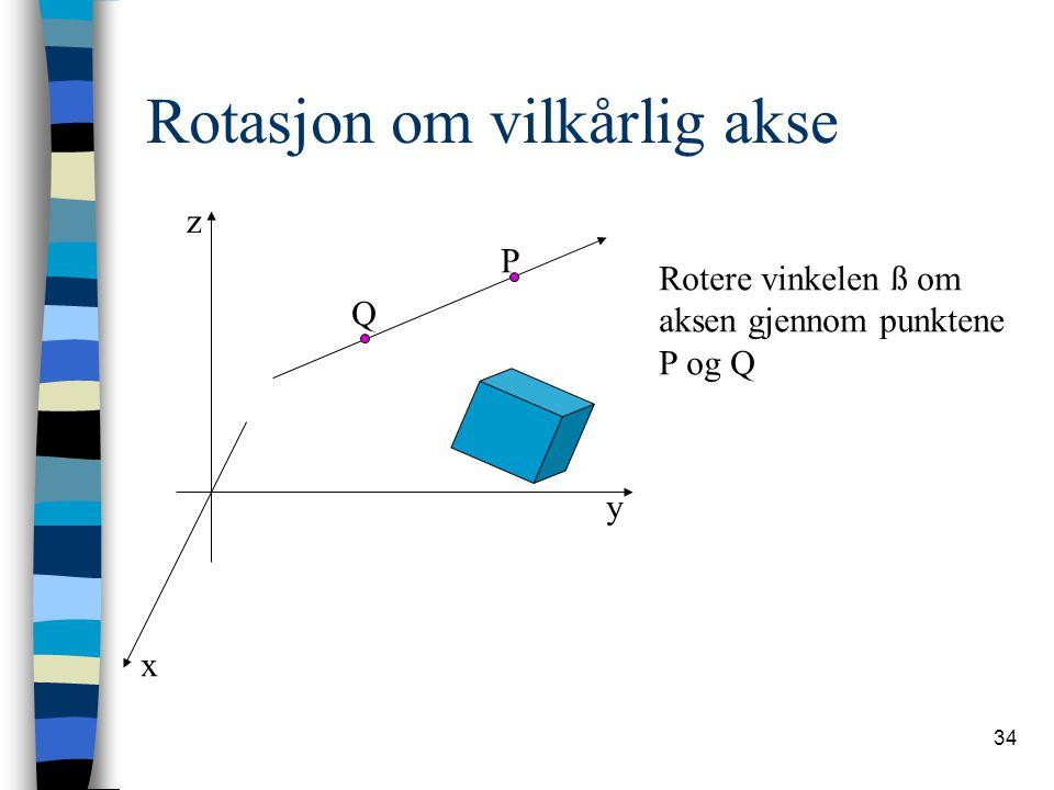 34 Rotasjon om vilkårlig akse x y z P Q Rotere vinkelen ß om aksen gjennom punktene P og Q