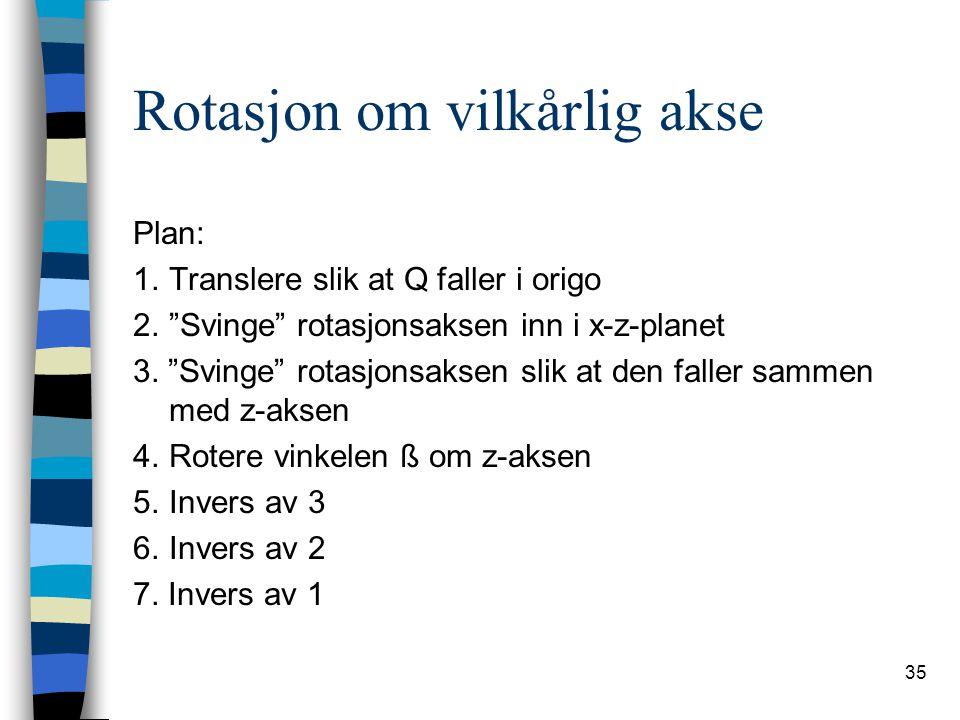 """35 Rotasjon om vilkårlig akse Plan: 1.Translere slik at Q faller i origo 2.""""Svinge"""" rotasjonsaksen inn i x-z-planet 3. """"Svinge"""" rotasjonsaksen slik at"""