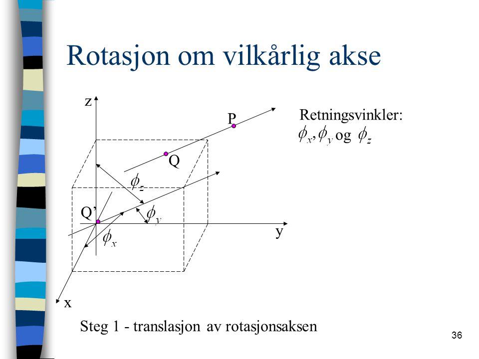 36 Rotasjon om vilkårlig akse x y z P Q', og Retningsvinkler: Steg 1 - translasjon av rotasjonsaksen Q