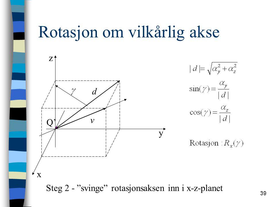 """39 Rotasjon om vilkårlig akse x y z Q' Steg 2 - """"svinge"""" rotasjonsaksen inn i x-z-planet v d"""