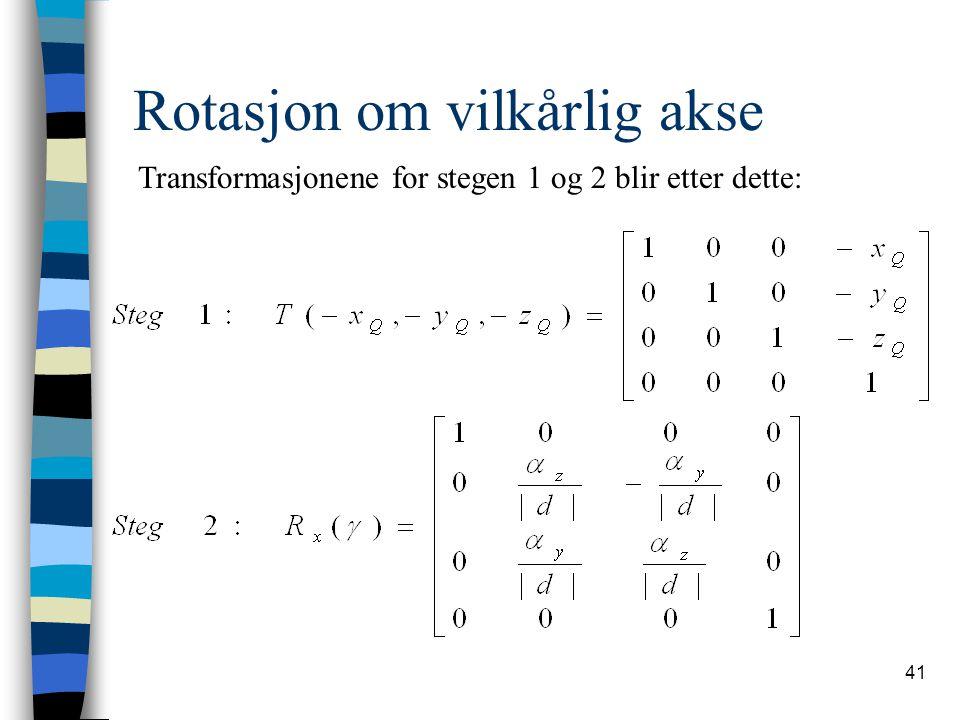 41 Rotasjon om vilkårlig akse Transformasjonene for stegen 1 og 2 blir etter dette: