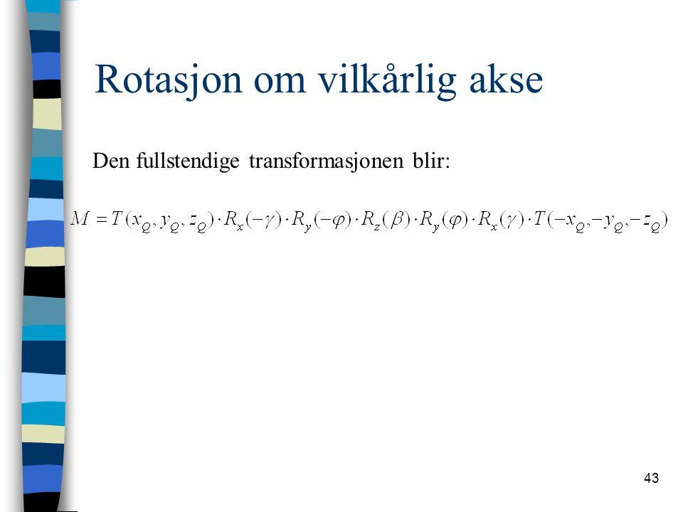 43 Rotasjon om vilkårlig akse Den fullstendige transformasjonen blir:
