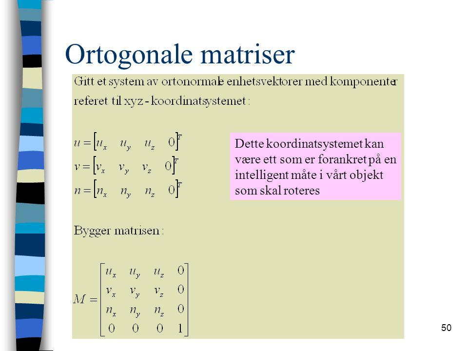 50 Ortogonale matriser Dette koordinatsystemet kan være ett som er forankret på en intelligent måte i vårt objekt som skal roteres