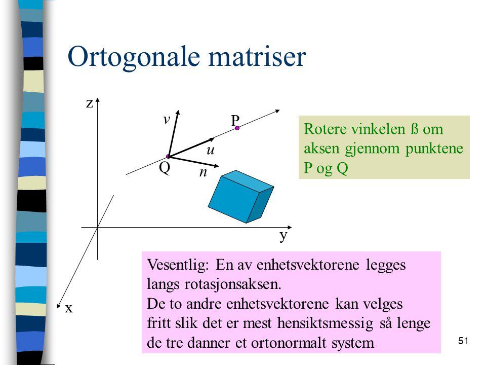 51 Ortogonale matriser x y z P Q Rotere vinkelen ß om aksen gjennom punktene P og Q u v n Vesentlig: En av enhetsvektorene legges langs rotasjonsaksen
