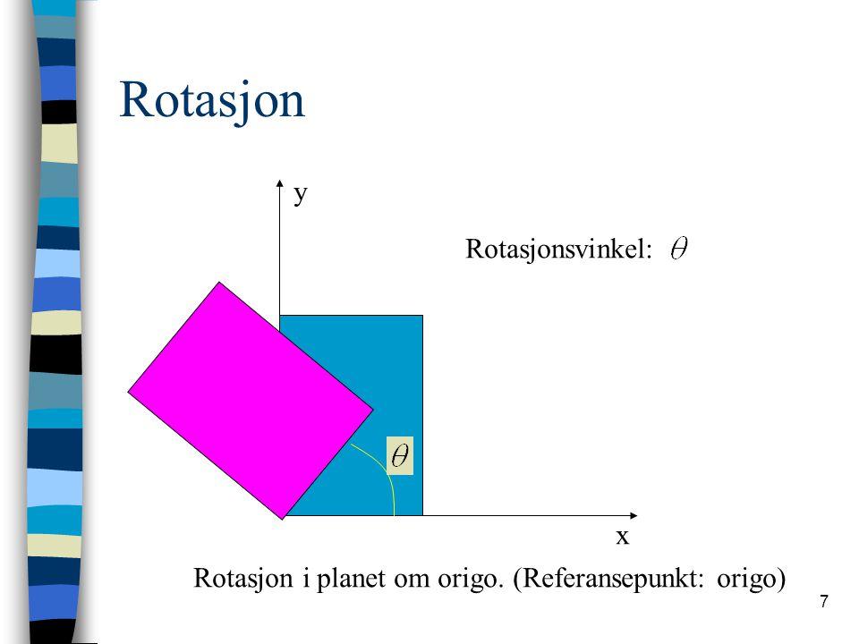 8 Rotasjon Ser på rotasjon av ett punkt: x y (x,y) (x',y')
