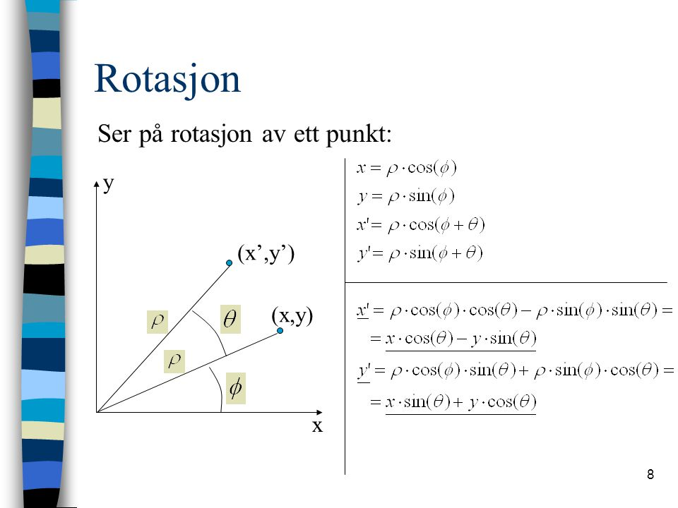 9 Rotasjon På matriseform: Rotasjon i x-y-planet kan sees på som rotasjon om z-aksen med konstant z.
