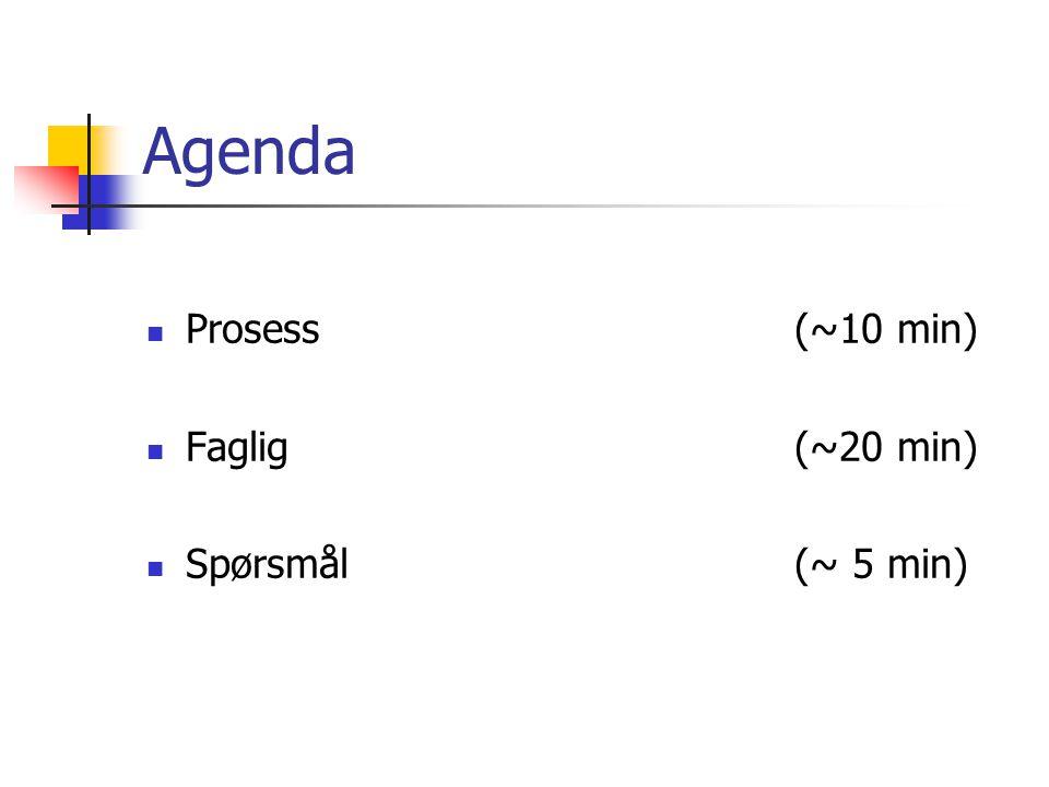 Agenda Prosess (~10 min) Faglig(~20 min) Spørsmål(~ 5 min)