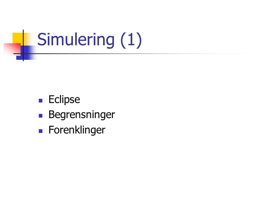 Simulering (1) Eclipse Begrensninger Forenklinger