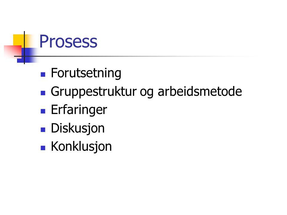 Prosess Forutsetning Gruppestruktur og arbeidsmetode Erfaringer Diskusjon Konklusjon