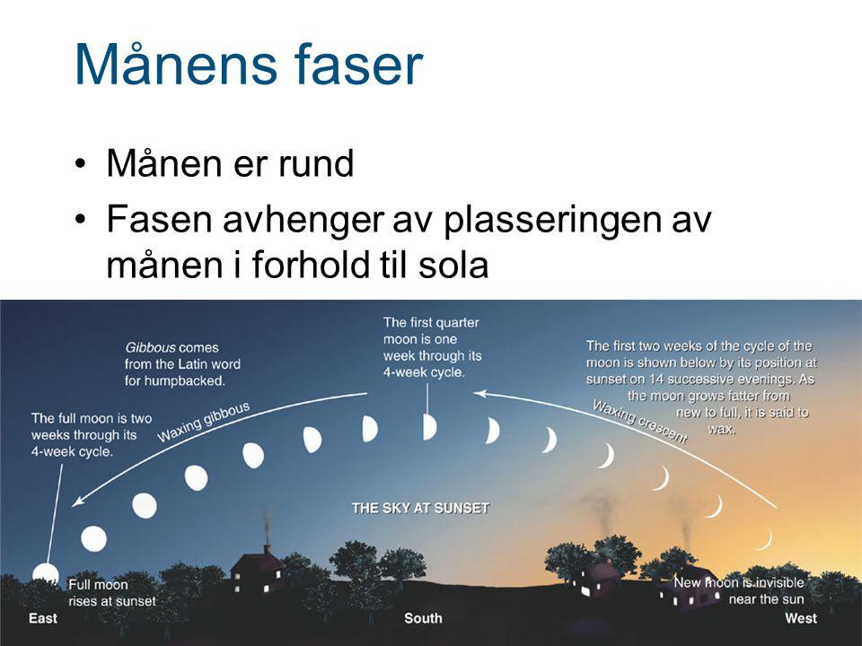 Månens faser Månen er rund Fasen avhenger av plasseringen av månen i forhold til sola