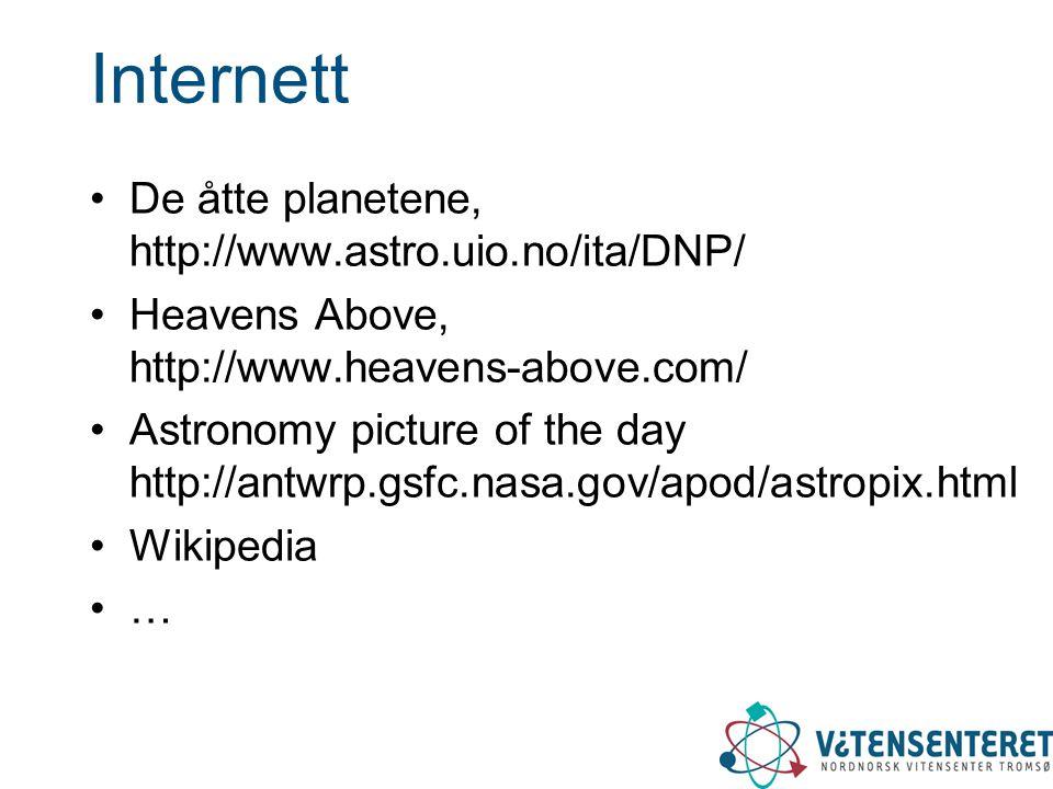 Internett De åtte planetene, http://www.astro.uio.no/ita/DNP/ Heavens Above, http://www.heavens-above.com/ Astronomy picture of the day http://antwrp.