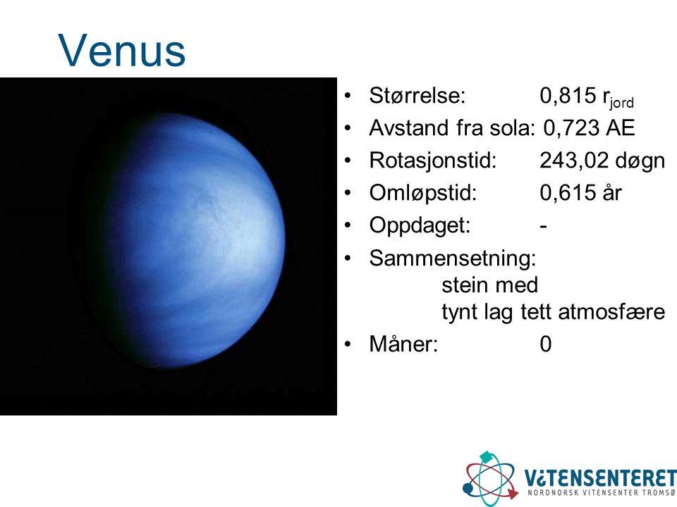 Venus Størrelse: 0,815 r jord Avstand fra sola: 0,723 AE Rotasjonstid: 243,02 døgn Omløpstid: 0,615 år Oppdaget: - Sammensetning: stein med tynt lag t