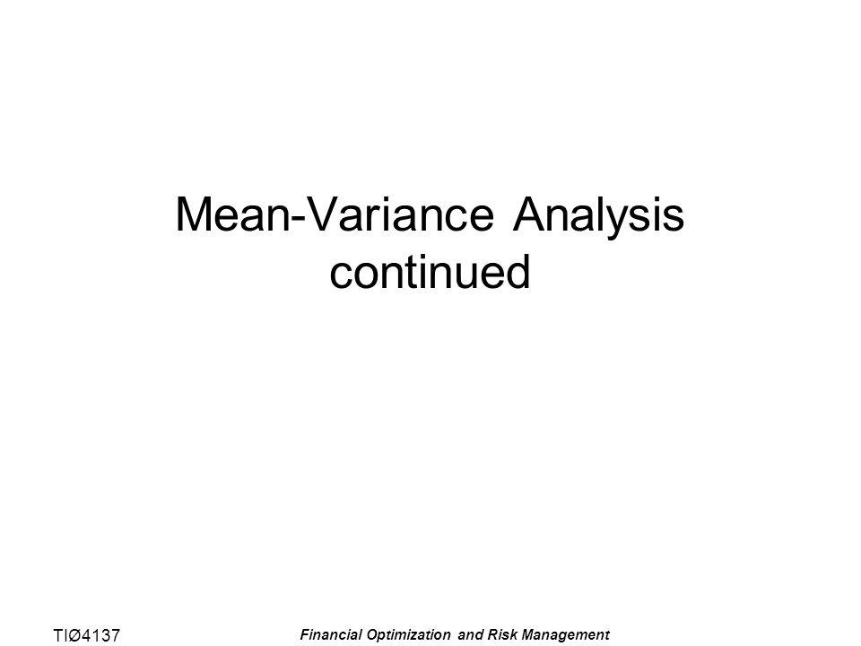 TIØ4137 Financial Optimization and Risk Management Sensitiviteten til avkastningen er gitt med β, som kalles factor loading Følgende antagelser ligger til grunn: –Kovariansen mellom det security specific restuttrykket og faktoren er 0, dvs.
