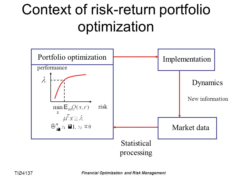TIØ4137 Financial Optimization and Risk Management Portefølje revisjon Porteføljeoptimering innebærer ofte revisjon av en eksisterende portefølje.